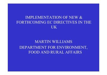 Implementation of New & Forthcoming EC Directives in the UK - IAPSC