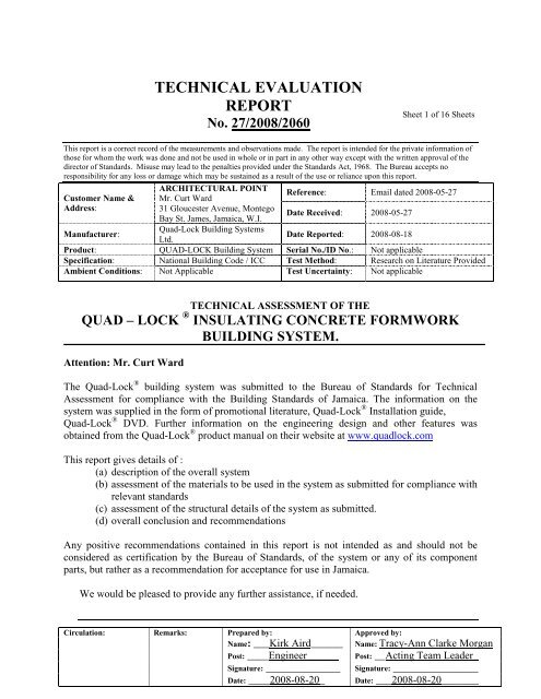 TECHNICAL EVALUATION REPORT - Quad-Lock Building Systems