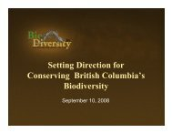 Setting Direction for Conserving British Columbia's ... - Biodiversity BC
