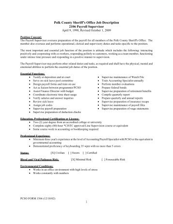 Great Jd312 Payroll/benefits Coordinator Job Description   Derby Public