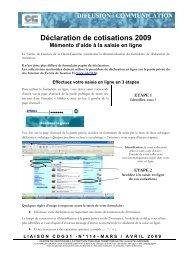 Déclaration de cotisations 2009 Mémento d'aide à la saisie en ligne