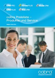 cobra Preisliste – Produkte und Service - Tutum GmbH