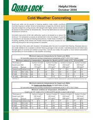 Cold Weather Concreting - cont'd... - Quad-Lock Building Systems