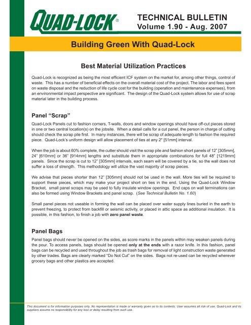 Best Material Utilization Practices - Quad-Lock Building Systems