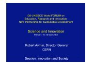 Science and Innovation - G8-UNESCO World Forum on