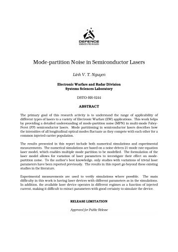 Mode-partition Noise in Semiconductor Lasers - Defence Science ...