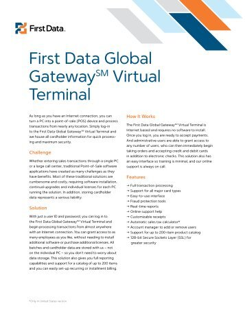 First Data Global GatewaySM Virtual Terminal - Secure Payments ...