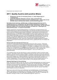 2011: Quality Austria zieht positive Bilanz