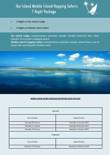 2014 departure dates - Ibo Island Lodge