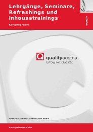 Lehrgänge, Seminare, Refreshings und ... - Quality Austria