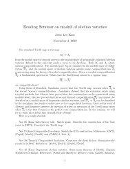 Reading Seminar on moduli of abelian varieties