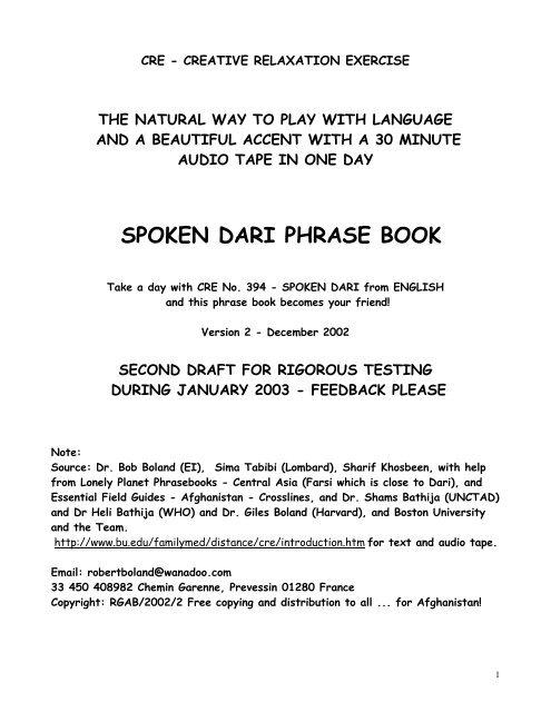 Spoken Dari Phrase Book