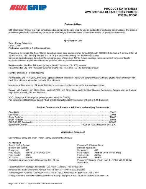 545 Epoxy Primer Clear (English) - Awlgrip