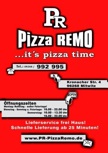 Unsere Speisekarte - Pizza Remo