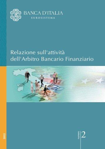Relazione sull'attività dell'Arbitro Bancario Finanziario ...