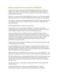 Designer vagina chat transcript with Dr. David Matlock - Urogyn.org