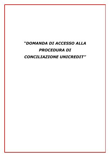 """""""DOMANDA DI ACCESSO ALLA PROCEDURA ... - Lega consumatori"""