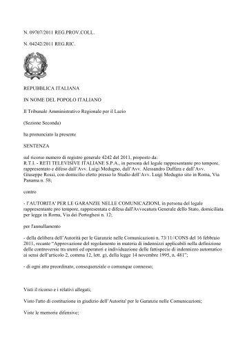 Sentenza del TAR del Lazio n. 9707/11 R.T.I. - Corecom Marche