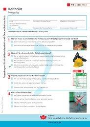 Fragebogen für Arbeitssicherheit und Gesundheitsschutz Helfer/in