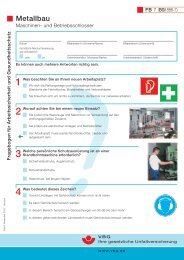 Fragebogen für Arbeitssicherheit und Gesundheitsschutz Metallbau