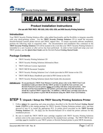 Security Printing Solutions Quick-Start Guide - Troy Group, Inc.