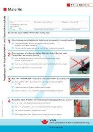 Fragebogen für Arbeitssicherheit und Gesundheitsschutz Maler/in