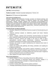 Job Title: Financial Analyst Position Location: Intematix Corporate ...
