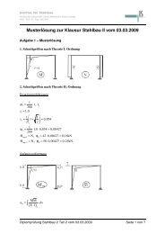 Musterlösung zur Klausur Stahlbau II vom 03.03.2009 ( )
