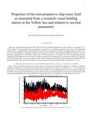 Properties of the non-propulsive ship noise field as measured from a ...