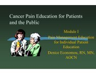 Module I Pain Management Education for Individual Patient ...