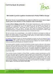 IBA Chemin du Cyclotron, 3 | 1348 Louvain-la-Neuve | Belgium | Tel