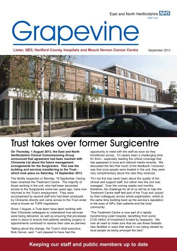 The latest edition of the Grapevine - East and North Herts NHS Trust