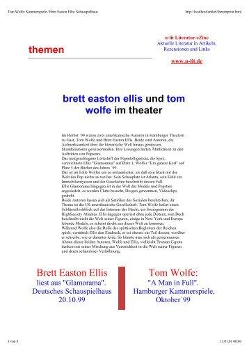 Tom Wolfe: Kammerspiele / Brett Easton Ellis - u-lit Literatur Magazin