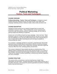 Tactics, Tools And Techniques - Graduate School of Political ...