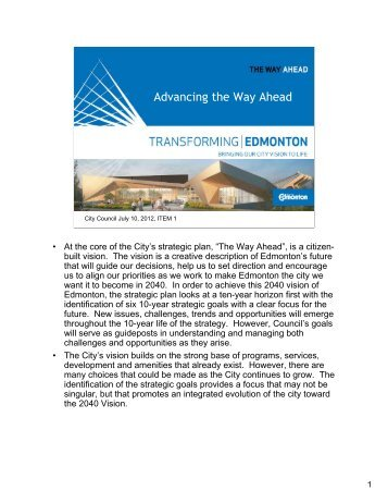 Ways to tell the Story - City of Edmonton