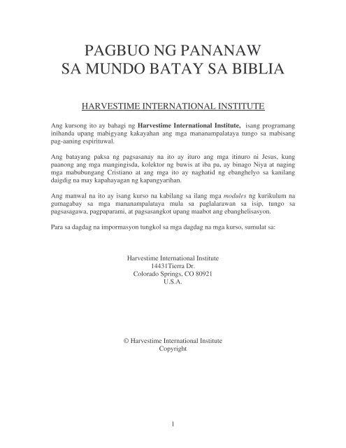 PAGBUO NG PANANAW SA MUNDO BATAY SA BIBLIA