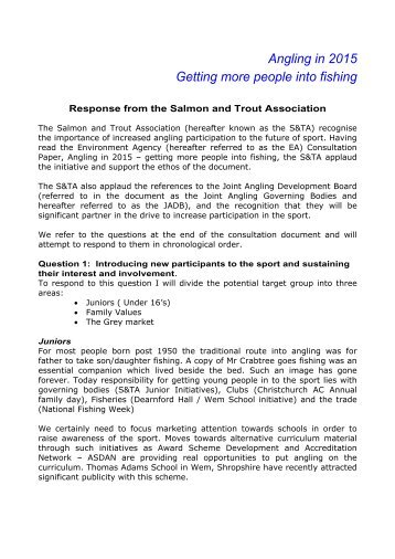 Angling in 2015 - Salmon & Trout Association
