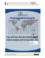 Face and Voice Biometrics Market: Global Industry Analysis and Forecast 2015 - 2021