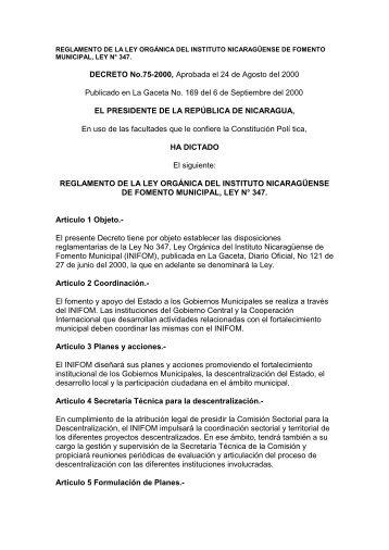 Reglamento de la Ley organica - Instituto Nicaragüense de Fomento ...