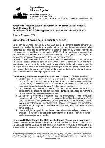 Agrarallianz Alliance Agraire Un fondement solide pour l'agriculture ...