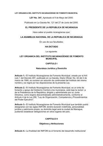 Ley Organica - Instituto Nicaragüense de Fomento Municipal