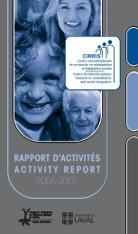 rapport d'activités activity report - CIRRIS - Université Laval