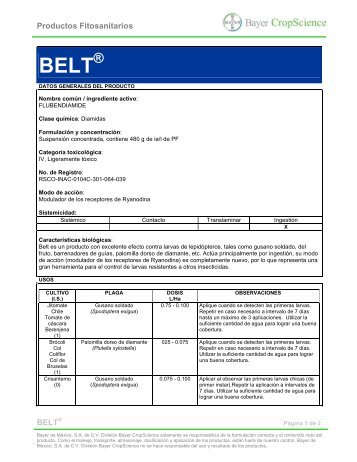 Productos Fitosanitarios BELT - Bayer CropScience Mexico