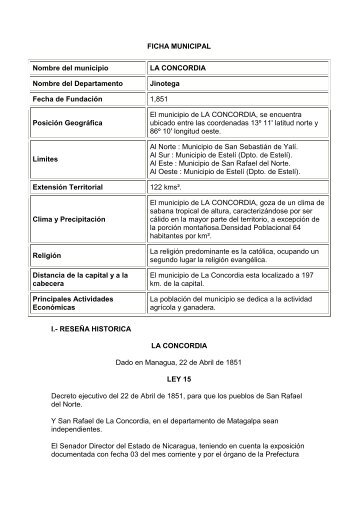 FICHA MUNICIPAL Nombre del municipio LA CONCORDIA Nombre ...