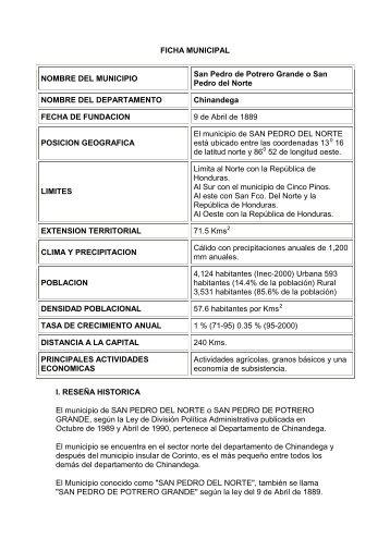 FICHA MUNICIPAL NOMBRE DEL MUNICIPIO San Pedro de Potrero