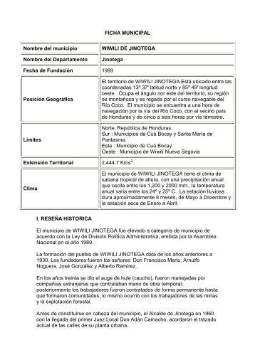FICHA MUNICIPAL Nombre del municipio WIWILI DE JINOTEGA ...