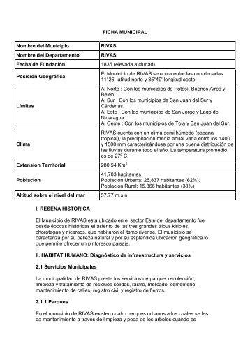 FICHA MUNICIPAL Nombre del Municipio RIVAS Nombre del ...