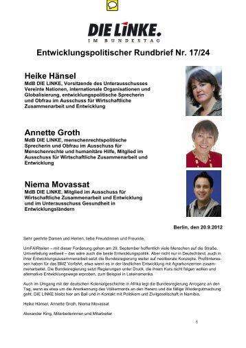 Entwicklungspolitischer Rundbrief Nr. 17/24 Heike Hänsel Annette ...