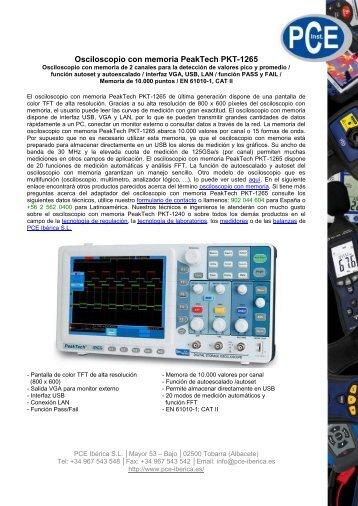 Osciloscopio con memoria PeakTech PKT-1265 - PCE Ibérica