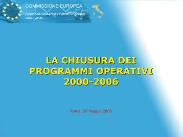 La chiusura dei programmi 2000-2006 - Dps